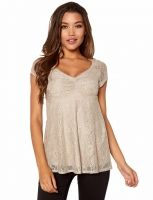 Top Happy Holly en dentelle, taupe